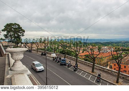 Perugia, Italy - May 15, 2013. View Of Roofs And Buildings In The City Of Perugia, A Historic And To