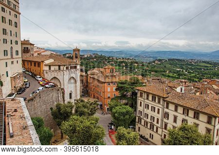 Perugia, Italy - May 15, 2013. Overview Of Roofs And Buildings In The City Of Perugia, A Historic An