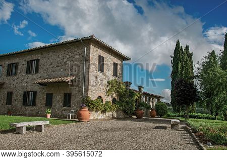Tuscany, Italy - May 16, 2013. Close-up Of Villa With Typical House Of The Tuscan Countryside, An Un