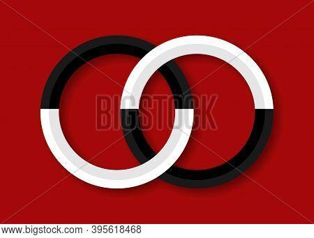 Sacred Geometry Sign, Yin And Yang, Black And White, Logo Sacral Mystic Design, Secret Masonic Icon,