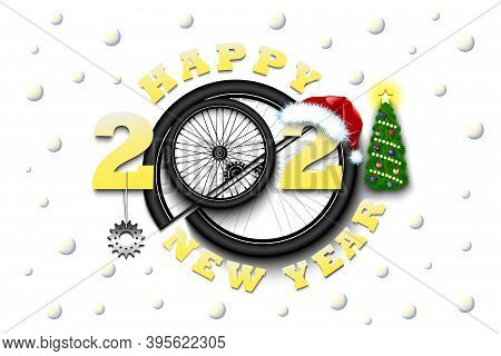 Happy New Year 2021 And Bicycle Wheel With Bicycle Star And Hat. Creative Design Pattern For Greetin