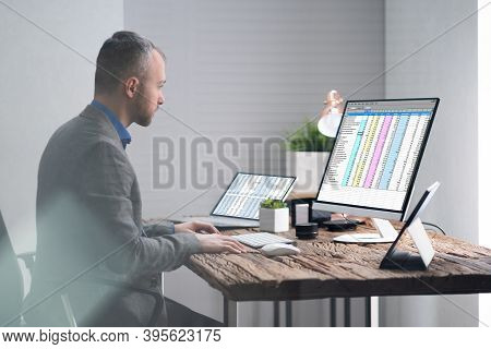Analyst Employee Working With Spreadsheet On Computer