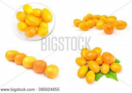 Set Of Kumquats Isolated On A White Background Cutout