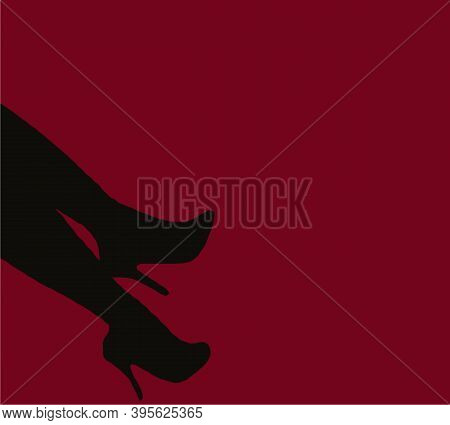 Sexy Woman Legs In High Heels Silhouette On Red Background. Long Legs Silhouette In Red Light. Sexua