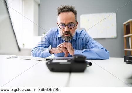 Waiting Landline Telephone Or Phone Call At Office Desk