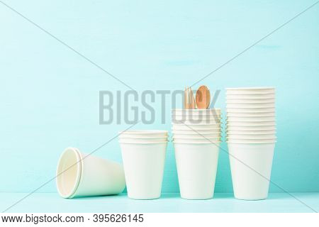 Biodegradable, Compostable, Disposable Or Eco Friendly Cup On Pastel Color Background, Sustainable C