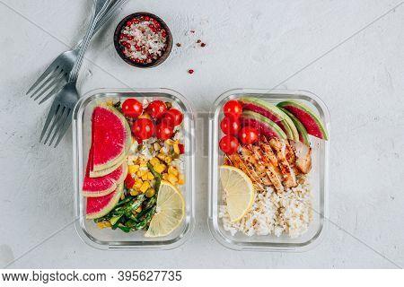 Meal Prep Containers With Chicken, Rice, Avocado, Tomato, Corn, Peas, Watermelon Radish, Asparagus