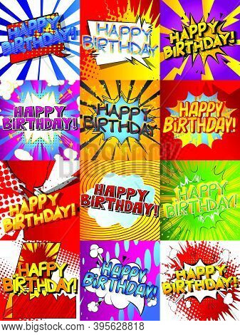 Happy Birthday. Gift Card Set. Vector Comic Book Style Illustration Collection. Pack Of Birthday Gre