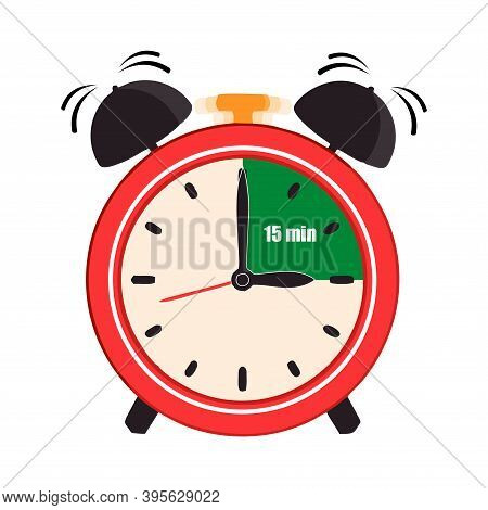 Fifteen Minutes On The Analog Clock Face Mark. Flat Style Design Vector Illustration Icon Isolated O