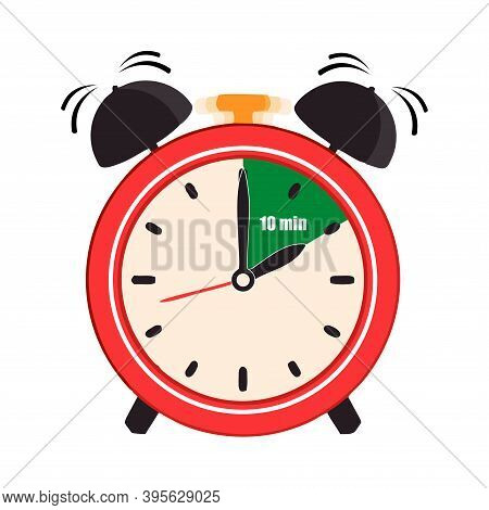 Ten Minutes On The Analog Clock Face Mark. Flat Style Design Vector Illustration Icon Isolated On Wh