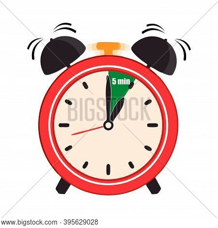 Five Minutes On The Analog Clock Face Mark. Flat Style Design Vector Illustration Icon Isolated On W