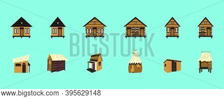 Set Of Shack Or Huts. Cartoon Icon Design Template With Various Models. Modern Vector Illustration I