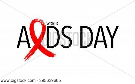 Aids With Red Ribbon In Brush Style. World Aids Day. Aids Awareness Icon Design For Poster, Banner,