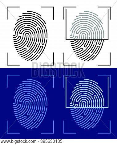 Person Digital Fingerprint Icon For Mobile Identification Applications. Biometric Identification Of