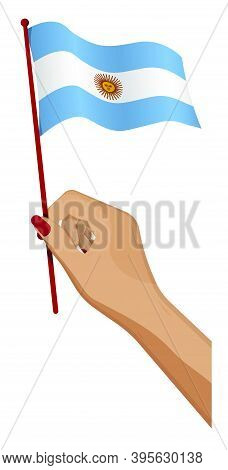 Female Hand Gently Holds Small Argentina Flag. Holiday Design Element. Cartoon Vector On White Backg