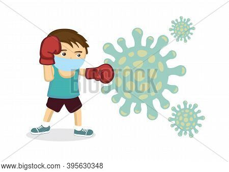 Virus And Flu Or Coronavirus Medical Fighting A Group Of Contagious Cells. Concept Of Pandemic Fight