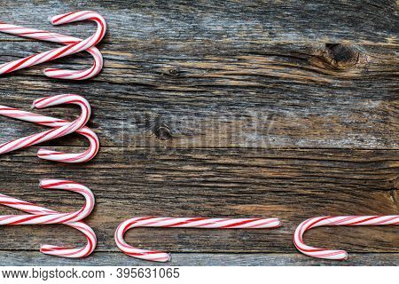 Rustic wood with candy canes