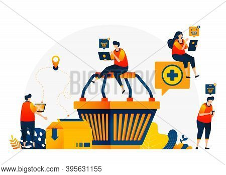 Illustration Of Shopping Cart With People Around Who Want To Shop. E-commerce With Delivery And Card