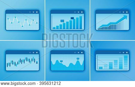 Accounting Software Design Vector Chart With Bar Chart, Line Chart, Financial Diagram, Analysis. Des