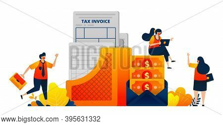 Tax Payment Documents For Companies And Individual. Money In An Envelope. Vector Illustration Concep