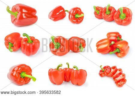 Collage Of Red Sweet Peppers Isolated On A White Background Cutout