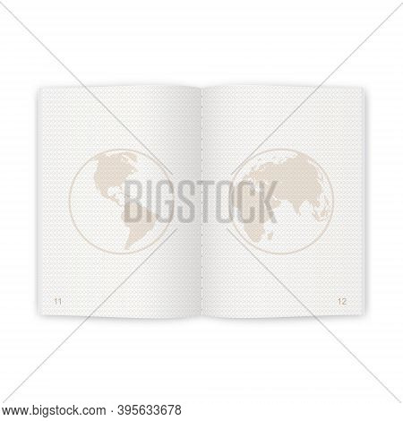 Passport Blank Pages For Stamps. Empty Passport With Watermark For Your Design