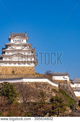 Himeji Castle In Clear Blue Sky Sunny Day, As Known As Hakuro-jo Or Shirasagi-jo (white Egret Or Whi