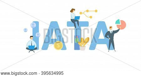 Iata, International Air Transport Association. Concept With Keywords, People And Icons. Flat Vector