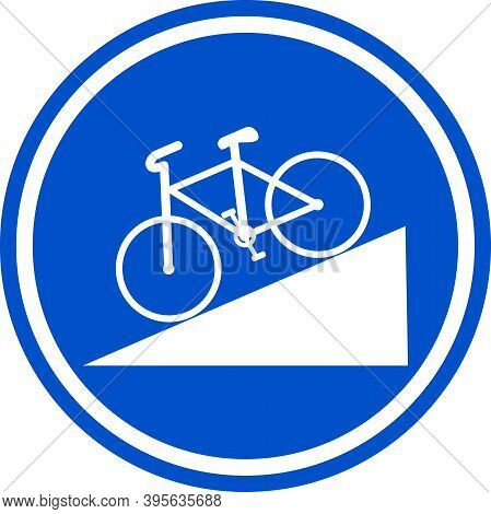 Down Steep Hill Area Traffic Sign For Bicycle. Circle Blue Background. Road Safety And Signs.