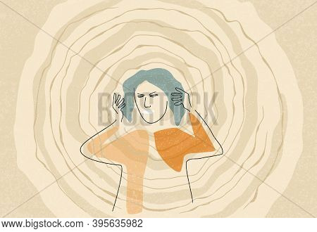 Abstract Confused And Frustrated Woman With Nervous Problem Touching Her Head. Mental Disorder And C
