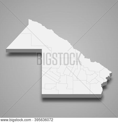 3d Isometric Map Of Chaco Is A Province Of Argentina