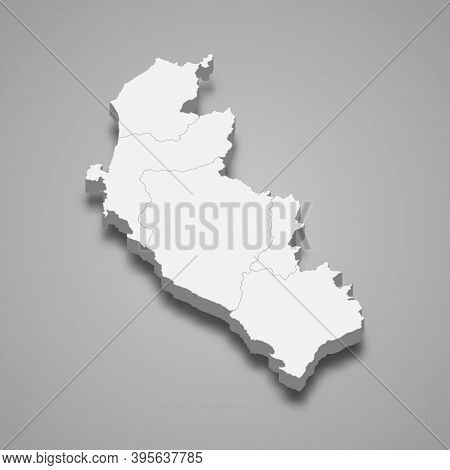 3d Isometric Map Of Ica Is A Region Of Peru