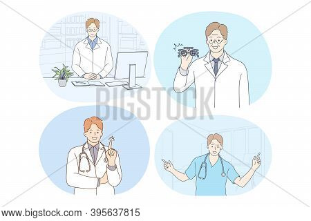 Doctor, Medicine, Healthcare, Therapist, Medicare, Clinic Concept. Young Smiling Men Doctors In Whit