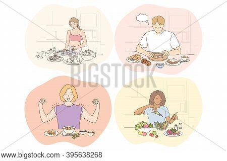 Healthy Food, Clean Eating, Diet, Weight Loss, Nutrition, Ingredients Concept. Young Positive People