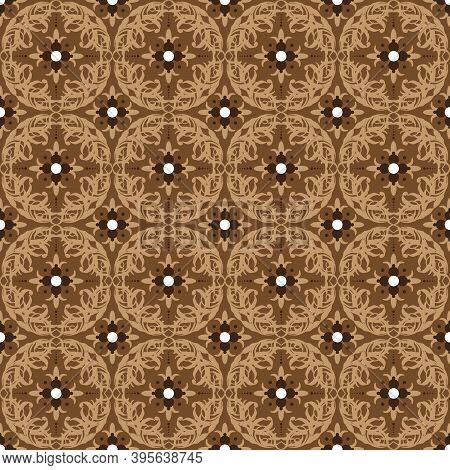 Cute Circle Patterns Design On Parang Batik With Smooth Mocca Color Concept.