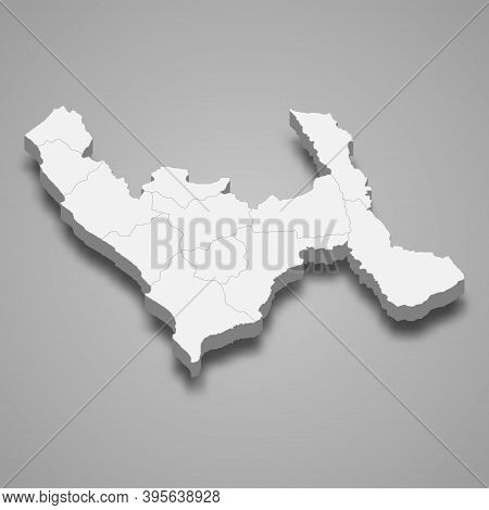 3d Isometric Map Of La Libertad Is A Region Of Peru