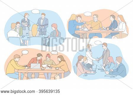 Negotiations, Brainstorming, Teamwork, Cooperation, Business, Development, Success Concept. Young Bu