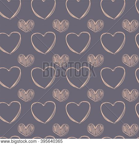 A Seamless Pattern Of Doodle Cream Hearts On A Soft Mauve Backdrop. Pastel  Background For Valentine