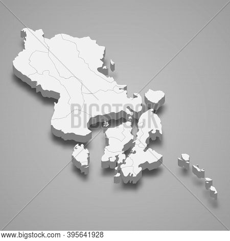 3d Isometric Map Of Southeast Sulawesi Is A Province Of Indonesi