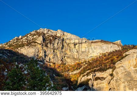 French Countryside. Col De Rousset. Panoramic View Of The Heights Of The Vercors, The Marly Hills An