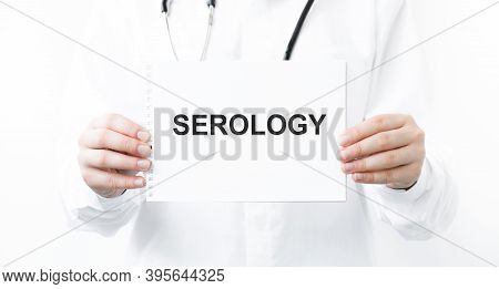 Doctor Holding A Card With Text Serology, Medical Concept