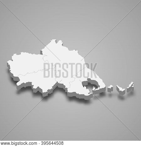3d Isometric Map Of Thessaly Is A Region Of Greece