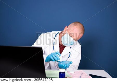 Male doctor consulting patient by online video call on laptop. Remote online medical chat consultation, tele medicine distance services, virtual physician conference call, telemedicine concept.