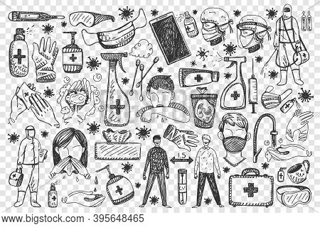 Coronavirus Doodle Set. Collection Of Hand Drawn People With Medical Face Masks Using Antibacterial