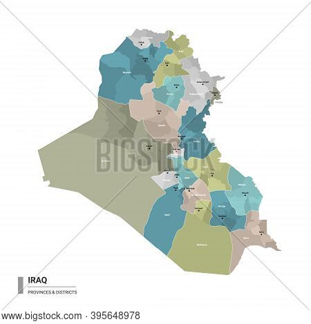 Iraq Higt Detailed Map With Subdivisions. Administrative Map Of Iraq With Districts And Cities Name,
