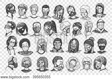 People With Masks Doodle Set. Collection Of Hand Drawn Men Women Portraits With Medical Face Respira