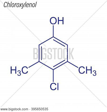 Vector Skeletal Formula Of Chloroxylenol. Antimicrobial Chemical