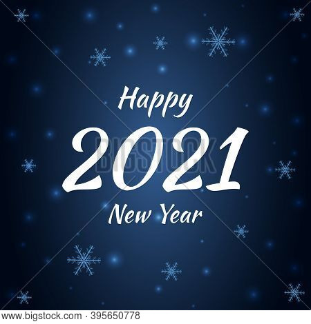 2021 Happy New Year, Snowflakes On A Navy Blue Background. Winter Snowflakes Festive Vector Dark Blu
