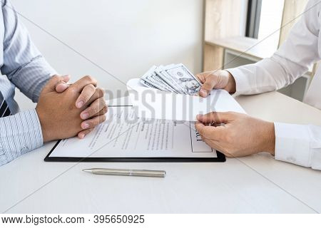 Dishonest Cheating In Business Illegal Money, Businessman Giving Bribe Money In Business People To A