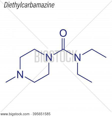 Vector Skeletal Formula Of Diethylcarbamazine. Drug Chemical Mol